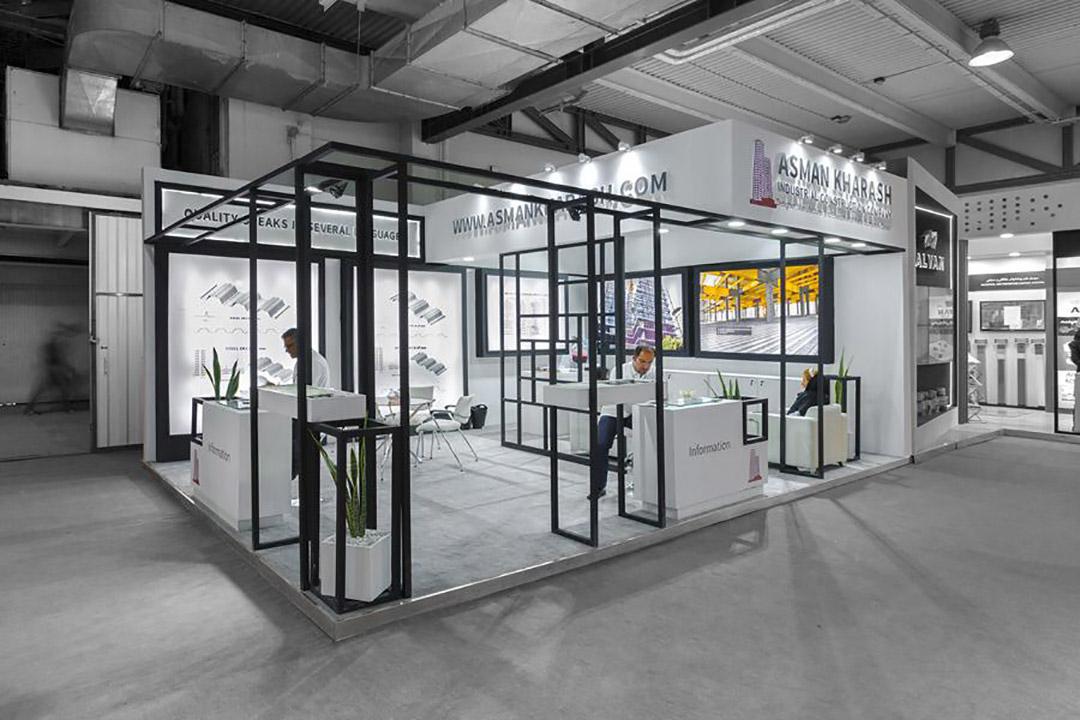 طراحی غرفه شرکت آسمان خراش
